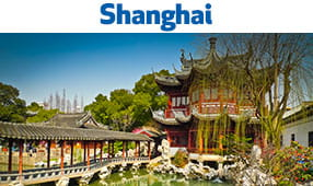 Shanghai, China - picture showing a beautiful temple with a walking bridge over a waterway